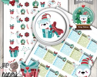 Christmas Stickers, Polar Bear Stickers, Printable Planner Stickers, Planner Stickers, Kawaii Stickers, Planner Accessories, Bear
