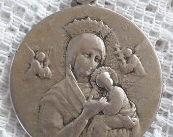 Antique Medal Pope Pius X - Virgin Mary and Child