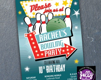 Girls or Boys Bowling Invitation. Bowling Party Invite, Bowling Invite