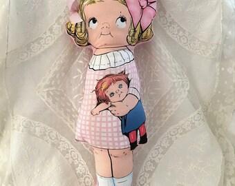 "Rag doll ""Amelia"" pink retro"