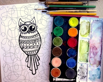 Adult coloring sheet Coloring page Adult coloring book Owl coloring page Printable coloring page Digital coloring book INSTANT DOWNLOAD JPG