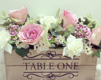 Personalised Rustic Wedding Wooden Table Centrepiece Wedding Table Number Crate