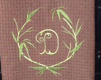 Bamboo Laurel Wreath with Initial - Microfiber Waffle Weave Kitchen Hand Towel
