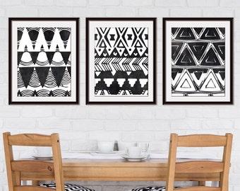 Tunisian Terrace Geometric Patterns (Series A3) Set of 3 - Art Prints (Featured in Black Linen) Botanical Print Set
