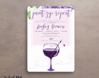 paint sip repeat painting party invitations, wine art party printable invitations, adult art party, painting with a twist, wine invitation