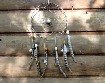 Dream catcher brown tones / pheasant feathers / actual 50 cm