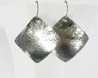 Hammered Silver Earrings Hammered Sterling Silver Earrings Sterling Silver Square Earrings
