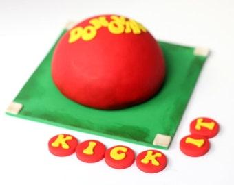 Fondant kickball cake topper - kickball cake - kickball fondant - kickball party - kickball cupcake - fondant sports - sports cake - cupcake