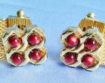 Brushed GOLD With BURGANDY Beads CUFFLINKS