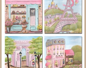 """Pink Gray Paris Baby Nursery Wall Art, Set of 4 Personalized Prints For Baby Shower Girl Gift Set Idea, 6 Sizes - 5 x 7"""" to 24 x 36"""" Poster"""