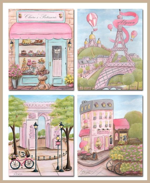 Paris Themed Nursery Decor: Pink Gray Paris Baby Nursery Wall Art Set Of 4 Personalized