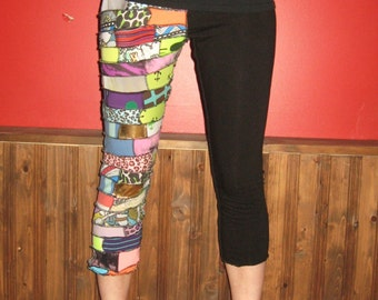 Eco Friendly Neon Scrap Patchwork 3/4 Leggings Small/Medium By Vicmes Clothing