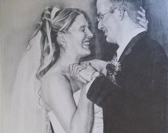 Custom Hand Drawn Portraits. Pencil/Charcoal Photo to Portrait