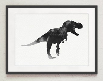 T Rex Drawing Black and White Animal Painting Tyrannosaurus Rex Silhouette Poster Home Decor Illustration