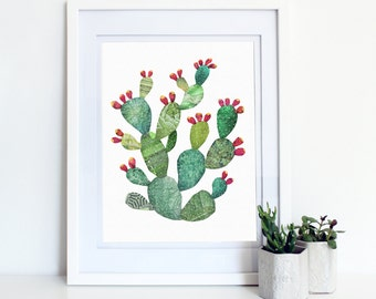 Prickly Pear Print- cactus art print, green, southwest cacti, desert