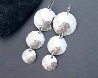 Sterling Silver Disc Earrings Hammered Silver Round Dangle Earrings Long Earrings Handmade Modern Metal Jewelry Greek Goddess Jewelry