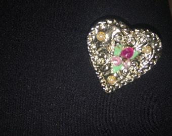 Vintage Heart Brooch Pendant. Free Shipping.