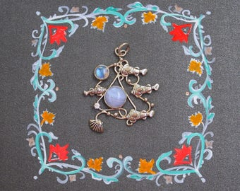 Blue lace agate necklace. Organic silver pendant with rainbow moonstone.