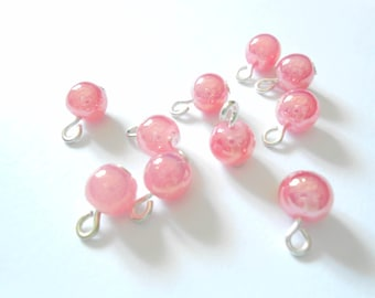 Pink Metallic Glass Dangle Beads