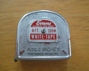 Evans measuring tape 6ft 106w WHITE-TAPE made in USA free shipping in the u s a