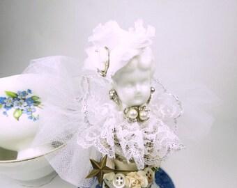 "Assemblage Art Doll Angel ""White Angel""  Assemblage Art Doll, Blue Willow Assemblage Angel, Fairy"