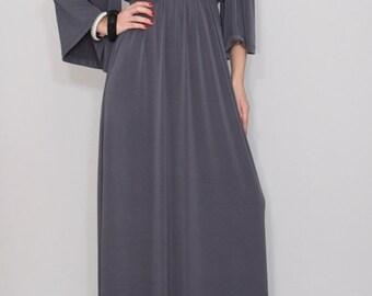 SALE Gray kimono dress Maxi dress Long dress Empire waist  Women dress Maternity clothing