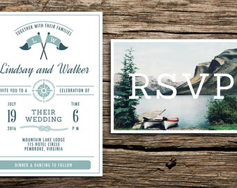 Vintage Lake Wedding Invitation & Vintage Postcard RSVP // Camp Inspired Invitation Lake Wedding Outdoor Summer Camp Canoes Boats Mountain
