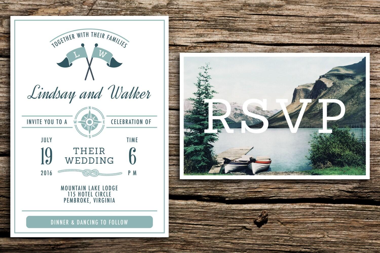 Vintage Lake Wedding Invitation & Vintage Postcard RSVP //