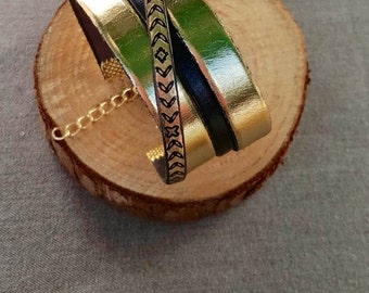 Bracelet leather cuff black and gold / gift idea for Christmas