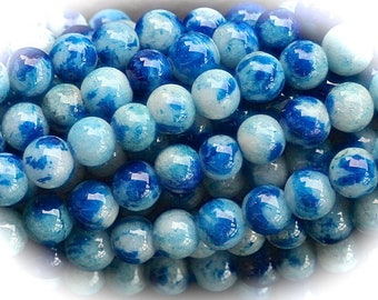 40 speckled white 4mm blue jade stone beads