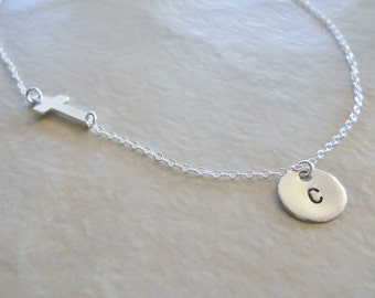 Sideways Cross and Hand Stamped Initial Disc Necklace Sterling Silver