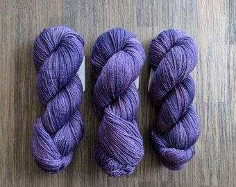 Hand Dyed Yarn - 'Royal Highness' - Griffin DK - Non-Superwash Bluefaced Leicester - purple semi tonal - 280 yards