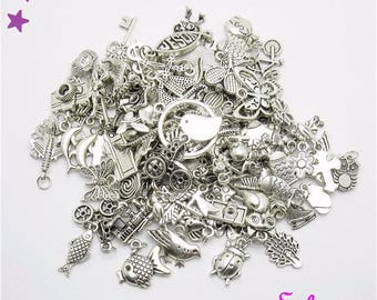 Mixed lot of 50 charms from 5 to 40 mm by shapes silver metal etc various heart star leaf flower baby fruit...