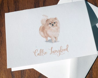 Pomeranian Personalized Stationery, great gift for dog lovers, Pom stationery set 100% Cotton Savoy, custom gifts for dog lovers