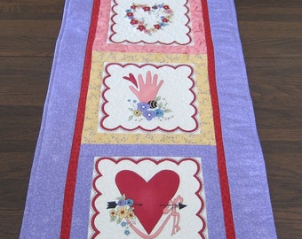 Valentine Table Runner or Wall Quilt Quiltsy Handmade