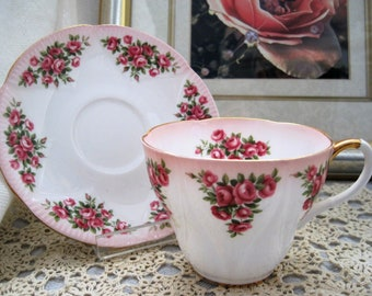 ROYAL ALBERT Bone China - Teacup and Saucer - Mary ( Pink Edge) -Dainty Dina Series -