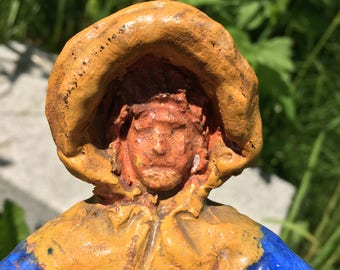 Clay Woman With Muffler + Bonnet