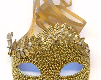 Golden Greek Pearls Masquerade Mask