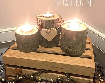 Log, Tea Light, Candle Holders, With Wooden Heart Cutout perfect for, rustic weddings
