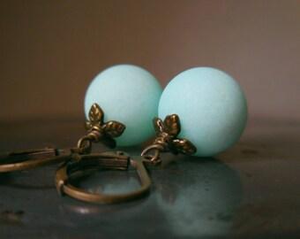 Mint jade earrings, matte blue green jade earrings, gem stone earrings, handmade brass earrings, bronze jewelry, seafoam sea foam ocean ice