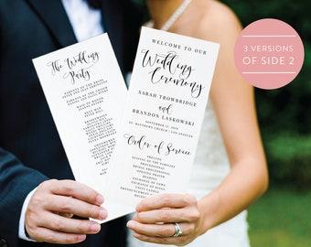 Wedding Program Template, Instant Download,  Printable, Editable PDF, DIY Wedding Program, Digital Calligraphy, Printable Wedding, #SN015_P