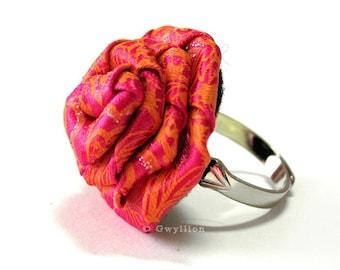 Satin Sunset Pink Rose Ring