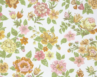 1950s Vintage Wallpaper by the Yard - Floral Wallpaper Pink Orange and Yellow Flowers