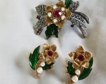 Vintage Avon brooch and earrings Gold and silver tone set