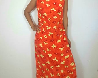 Stunning maxi vintage orange dress / Floral dress / Fits S to M / Women vintage / 90s dress / Peasant dress