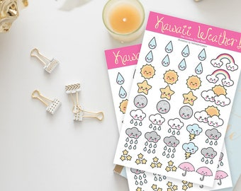 Stickers / Super Cute Weather Stickers / Kawaii / Rain Stickers, Sun Stickers, Kawaii Stickers / Cute Stickers / Planner Stickers / Printed