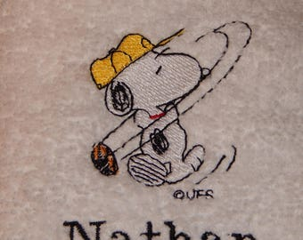 Peanuts Character: Golfing Snoopy #2 - Embroidered Towel (terry cloth or flour sack)
