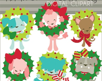 Christmas Clipart Wreath Dogs -Personal and Limited Commercial Use- Puppy Holiday Digital Clip art