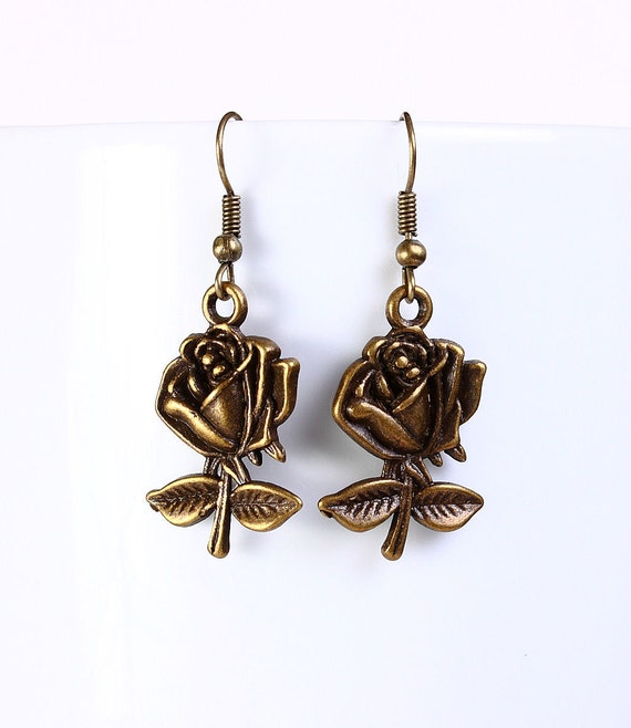 Sale Clearance 20% OFF - Antique brass rose drop dangle earrings (550)