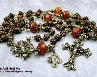 One of the Kind Virgin Mary Ornate Filigree Bronze Red Jasper Carnelian Heirloom Rosary for protection,stress,abundance,good lack